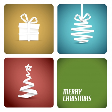 Simple  christmas decoration made from white paper stripe - original new year retro card Stock Vector - 15232609
