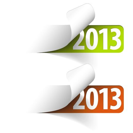 last year: 2013 new year stickers - green and red Illustration