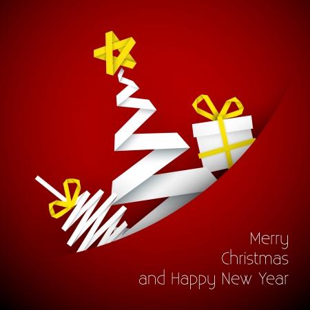minimal: Simple Red Tarjeta de Navidad con el regalo, el �rbol y la chucher�a hechos de papel raya