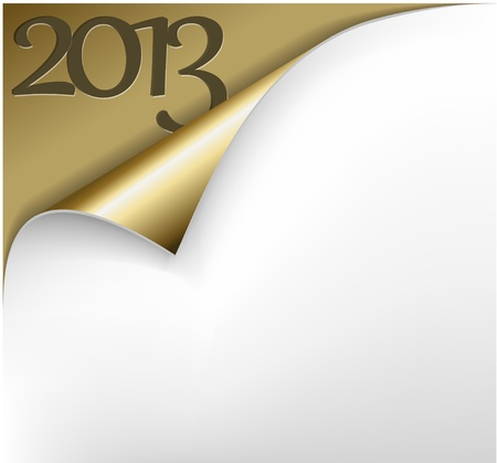 Christmas New Year Card - Sheet of golden paper with a curl showing 2013 Vector