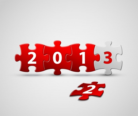 New Year 2013 card made from red and white puzzle pieces  illustration Stock Vector - 15232635