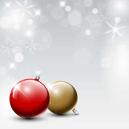 feliz navidad: red and golden Christmas realistic baubles on a silver background Illustration