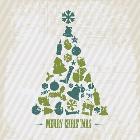 Vintage Grunge Christmas tree made from various shapes (blue and green) Vector