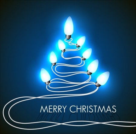 background with christmas tree and lights on blue Vector