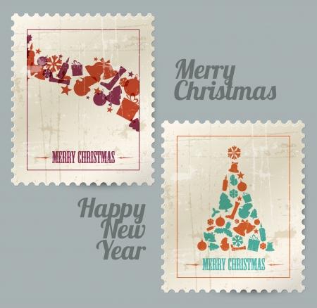 happy new year stamp: Colecci�n de sellos postales de �poca de navidad hecha de elementos de la Navidad