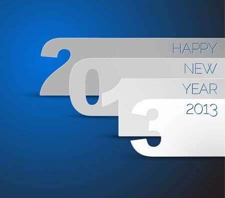 Blue and white Happy New Year 2013 Stock Vector - 15553733