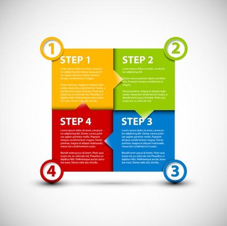 progress steps: One two three four paper progress steps for tutorial Illustration