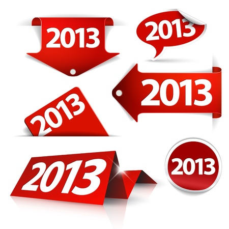 2013 Labels, stickers, pointers, tags for your (web) page - red color Vector