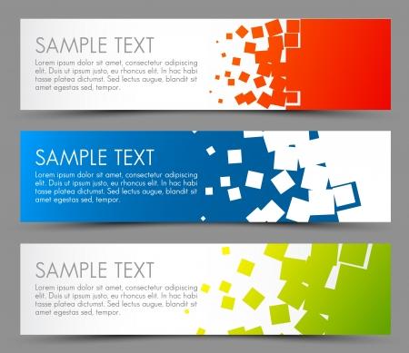 banner orizzontali: Semplici striscioni colorati orizzontali - con motivo quadrato