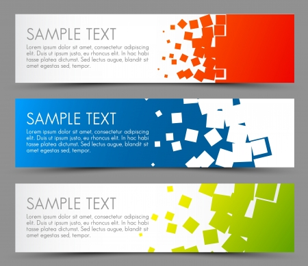 Simple colorful horizontal banners - with square motive Stock Vector - 15553741