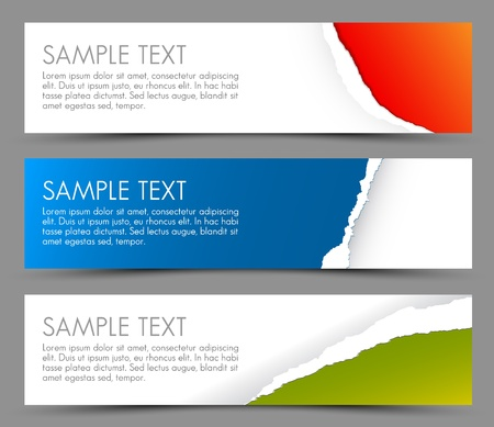 Simple colorful horizontal banners - with torn away corners Vector