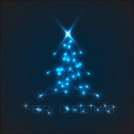 laser light: christmas tree from digital electronic blue lights and lines