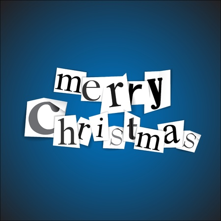Merry Christmas illustration made from anonymous newspaper letters Vector