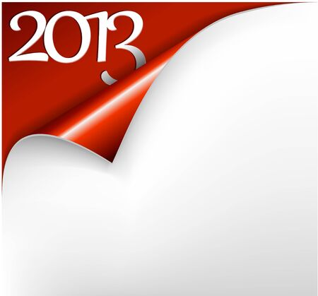 Christmas New Year Card - Sheet of red paper with a curl showing 2013 Stock Vector - 15553734