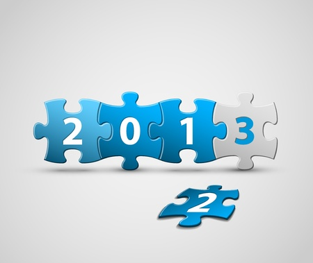 New Year 2013 card made from blue and white puzzle pieces Vector