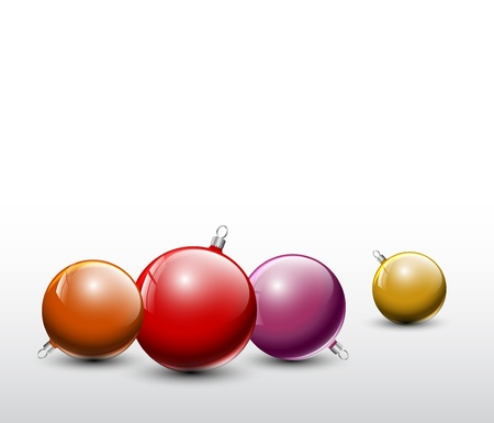 red and golden Christmas realistic baubles on a white background Vector