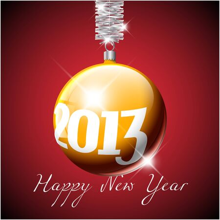 golden Christmas realistic bauble with the numbers of new year 2013 Vector
