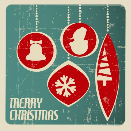 paper ball: Retro Christmas card with christmas decorations - teal and red