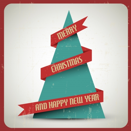 religious text: Vintage retro grunge Christmas tree with a red ribbon