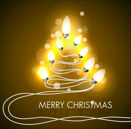 christmas bulbs: golden background with christmas tree and lights