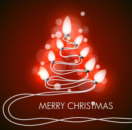 background with christmas tree and lights on red Vector
