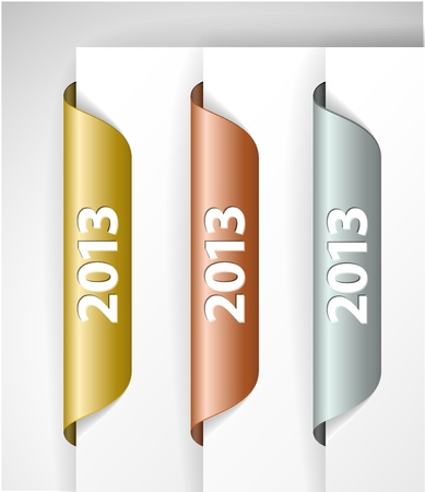 metalic 2013 Labels / Stickers on the edge of the (web) page Stock Vector - 15700325