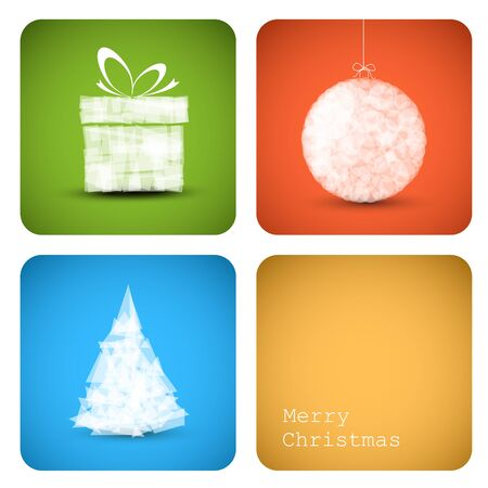Simple christmas decoration card with present, bauble and tree Vector