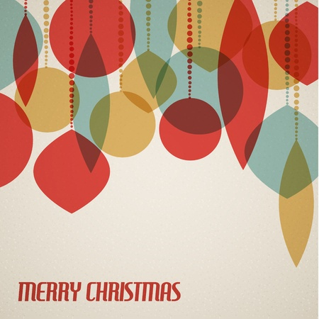 Retro Christmas card with christmas decorations - teal, brown and red Stock Vector - 15700338
