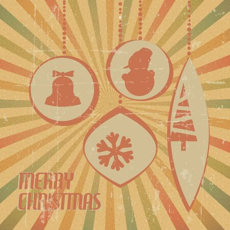 Retro Christmas card with christmas decorations - with stripy background Vector