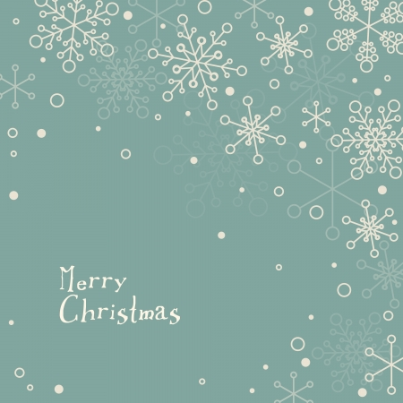 christmas cards: Retro simple Christmas card with white snowflakes on blue background Illustration