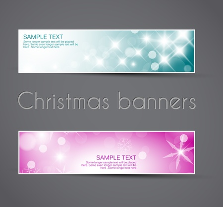 Set of christmas  New Year horizontal banners - teal and pink Vector
