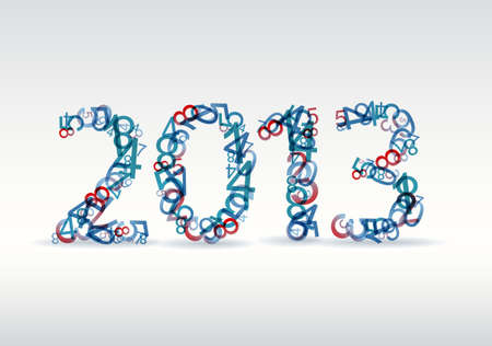 Vector blue and red New Year card 2013 made from numbers Vector