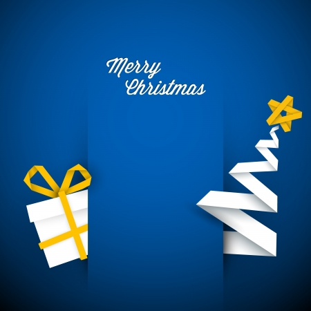 minimalist: Simple vector blue christmas card with gift and tree made from paper stripe Illustration