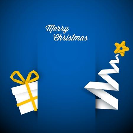 minimal: Vector simple azul tarjeta de Navidad con regalos y �rbol hechos de papel raya Vectores