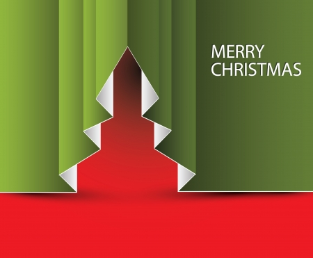 folded paper: Vector Paper christmas tree - made from folded paper Illustration