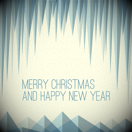 horizont: Retro minimalistic Christmas card with icicles and snowy mountains Illustration