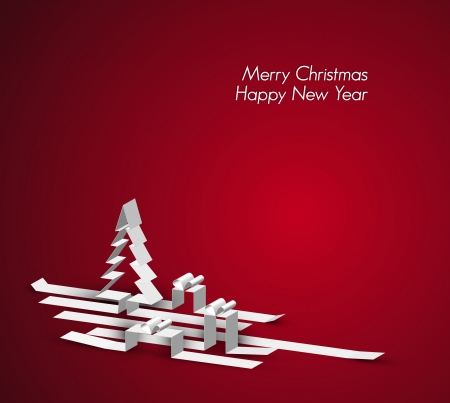Merry Christmas card with a white tree and gift boxes made from paper stripes Vector