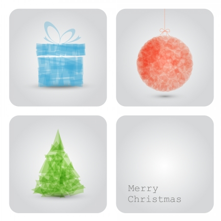 Simple vector christmas decoration card with present, bauble and tree Vector