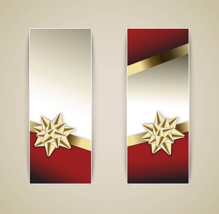Set of vector christmas  New Year banners with golden ribbon and bow Vector