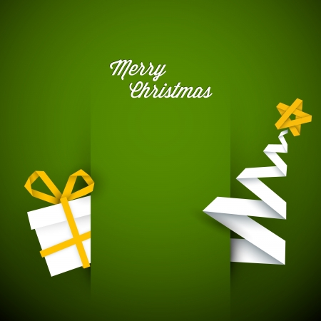 christmas baubles of modern design: Simple vector green christmas card with gift and tree made from paper stripe