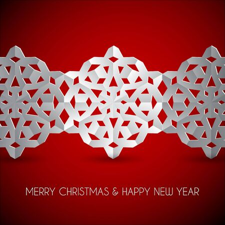 snow chain: Vector white paper christmas snowflakes on a red background Illustration