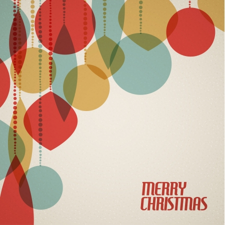 retro colors: Retro Christmas card with christmas decorations - teal, brown and red
