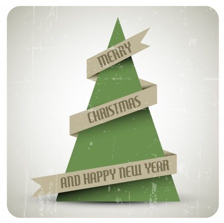 Vintage retro vector grunge Christmas tree with a ribbon Stock Vector - 16135101
