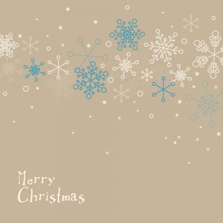Retro simple Christmas card with white snowflakes on brown background Stock Vector - 16135096