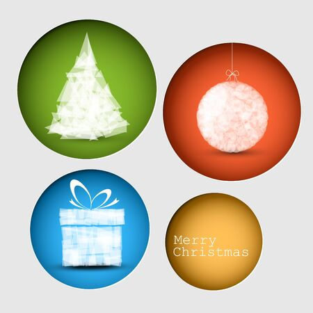 Simple vector christmas decoration card with present, bauble and tree Stock Vector - 16236013
