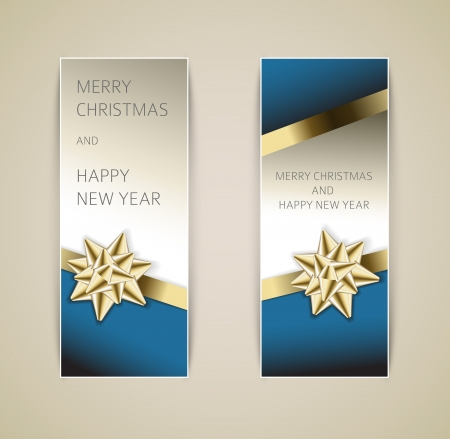 Set of vector christmas / New Year banners with golden ribbon and bow Vector