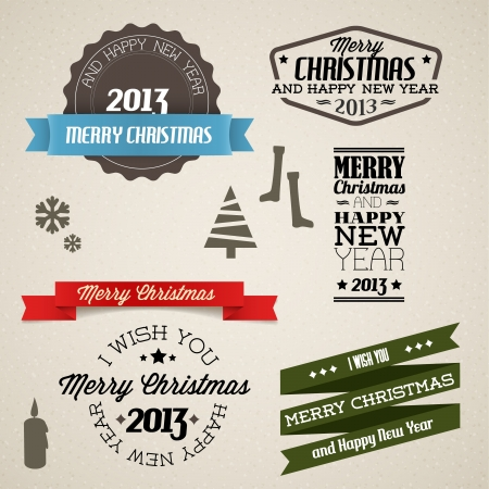 Collection of vector vintage retro christmas elements Stock Vector - 16236017