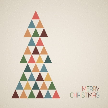 religious text: Vintage retro vector grunge Christmas tree made from triangles