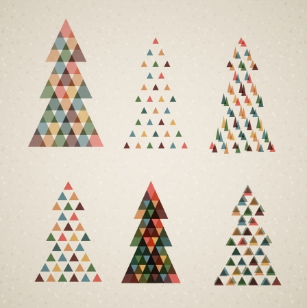 religious text: Collection of Vintage retro vector Christmas trees made from triangles