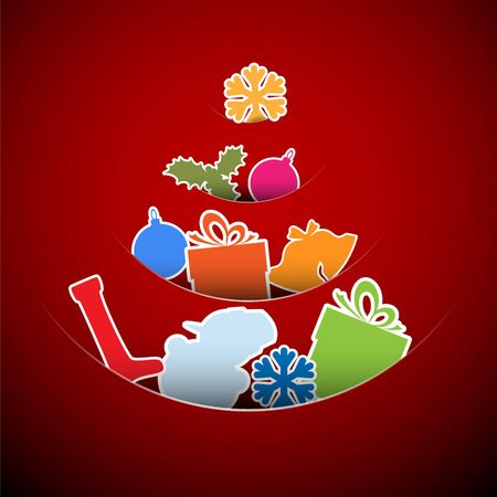 Simple vector red christmas card with tree made from xmas elements Vector